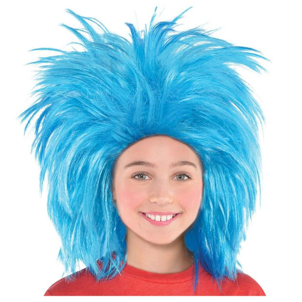 blue fright wig
